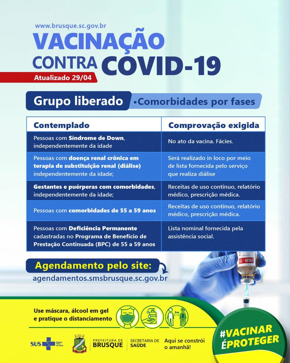COVID-19: Brusque abre agendamento de Vacina a outros grupos prioritários