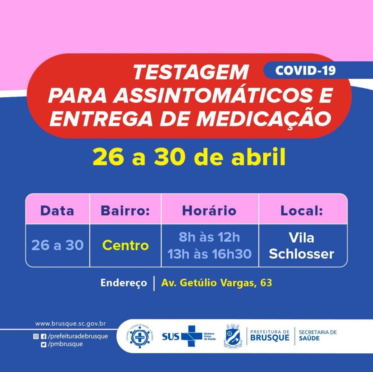Covid-19: Unidade de testagem para assintomáticos divulga agenda da próxima semana
