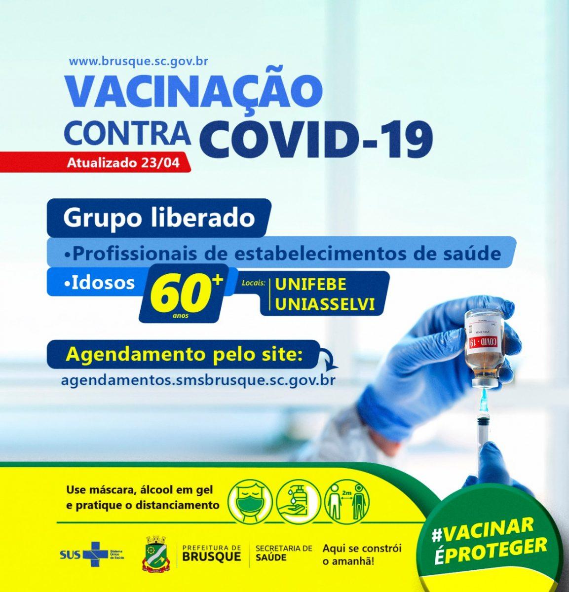COVID-19: Brusque abre agenda para primeira dose da vacina a pessoas acima de 60 anos