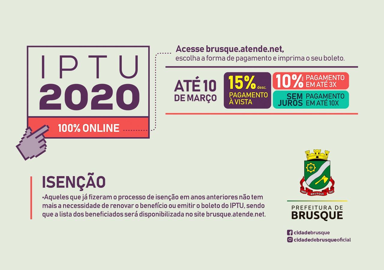 Cota única ou primeira parcela do IPTU de Brusque vence nesta terça-feira (10)