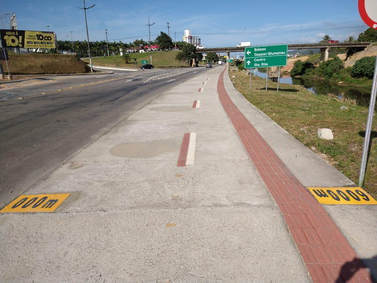 Fundação de Esportes e Setram realizam marcação de distância na avenida Beira Rio