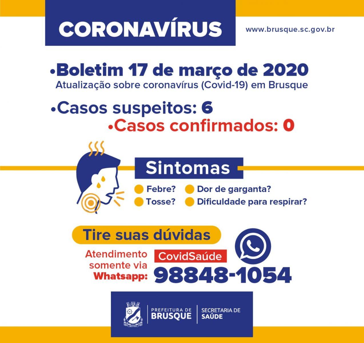 Prefeitura de Brusque atualiza informações sobre coronavírus (covid-19)