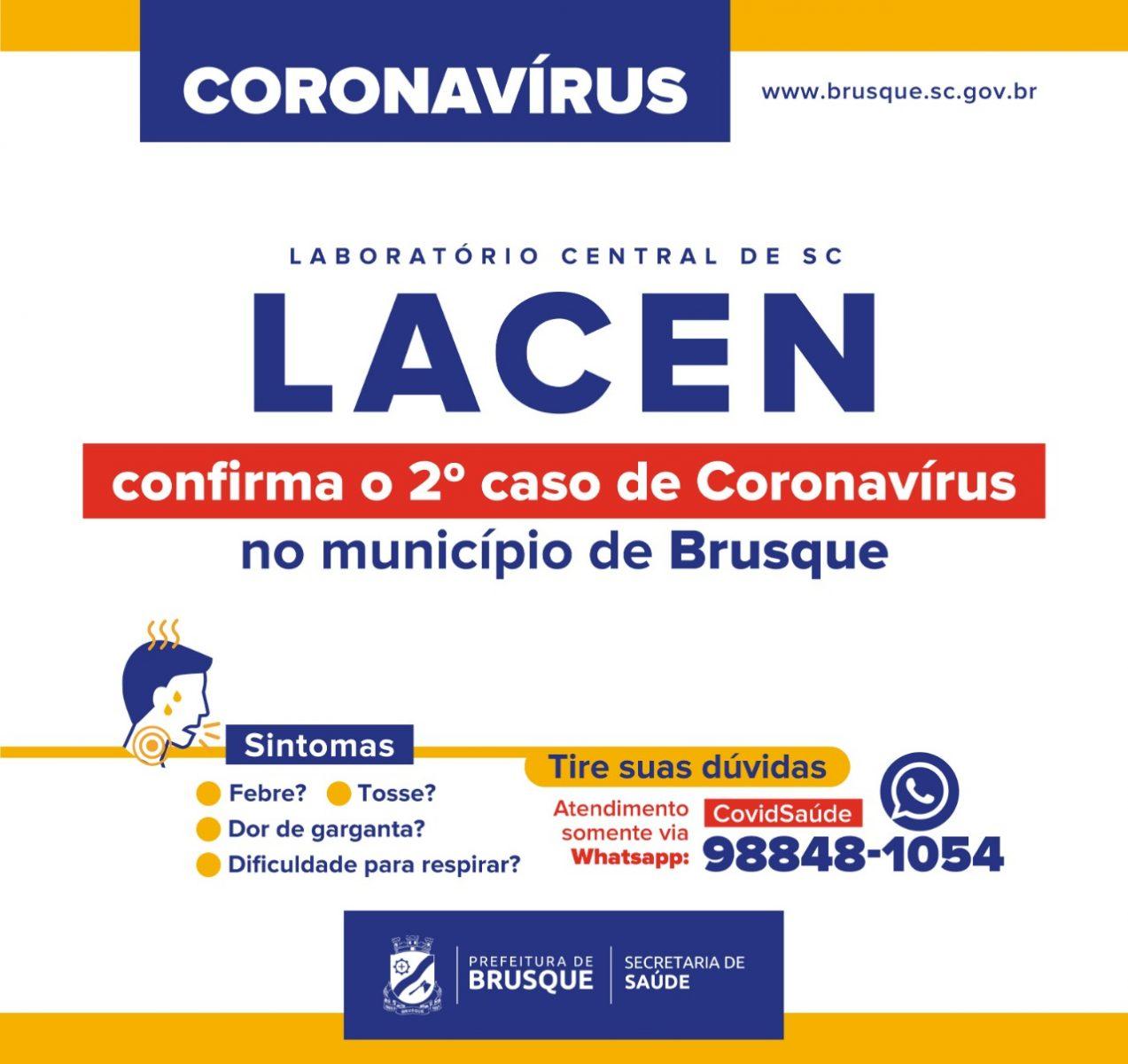 Segundo caso de coronavirus é confirmado em Brusque