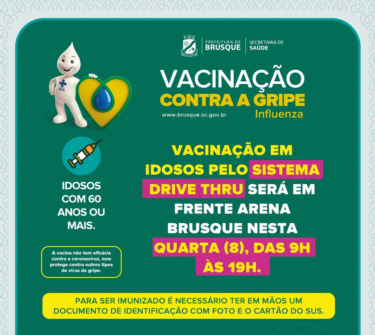 MUDANÇA DE LOCAL: Vacinação em idosos pelo sistema drive thru será em frente Arena Brusque nesta quarta (8)