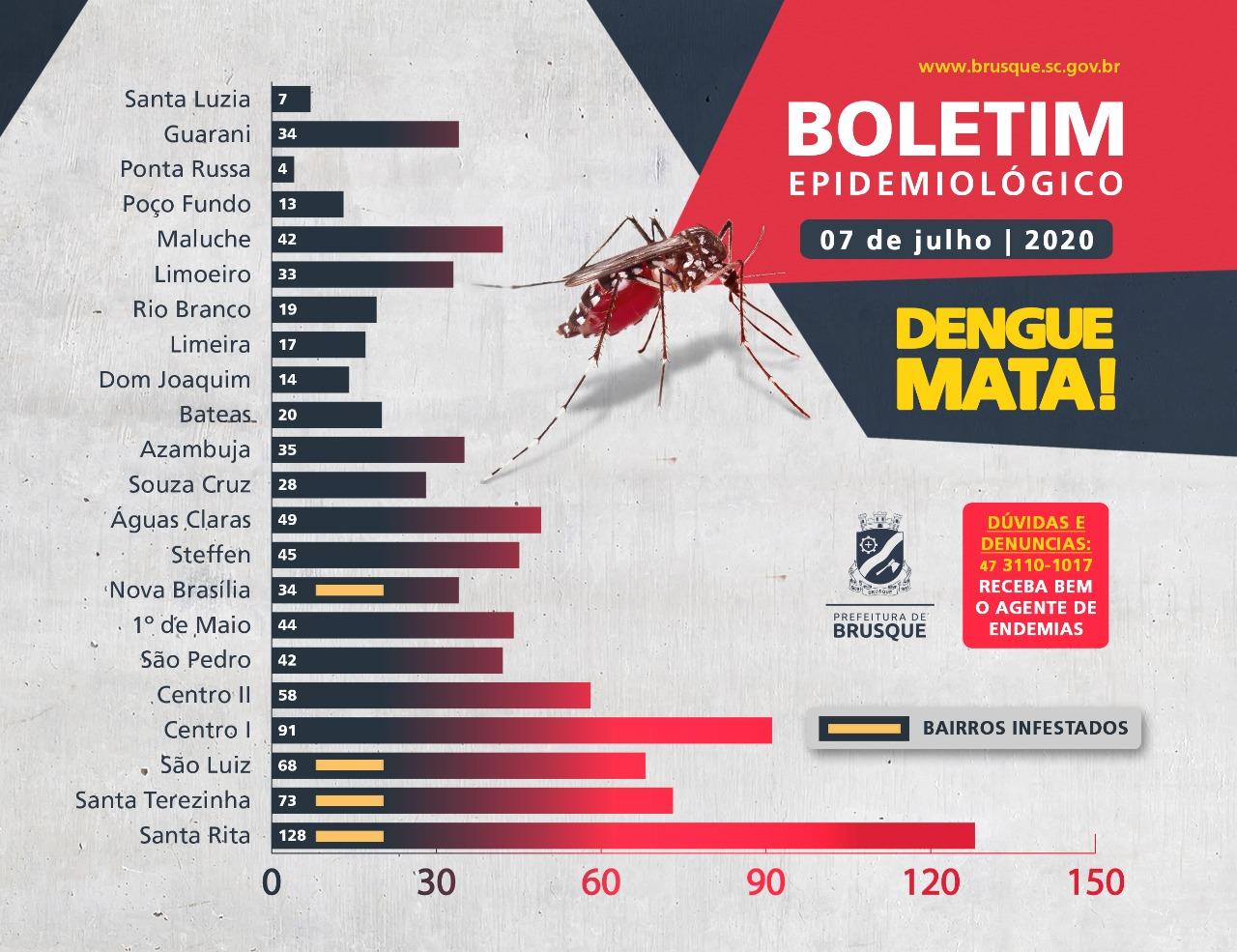 Brusque já soma 23 casos autóctones de dengue