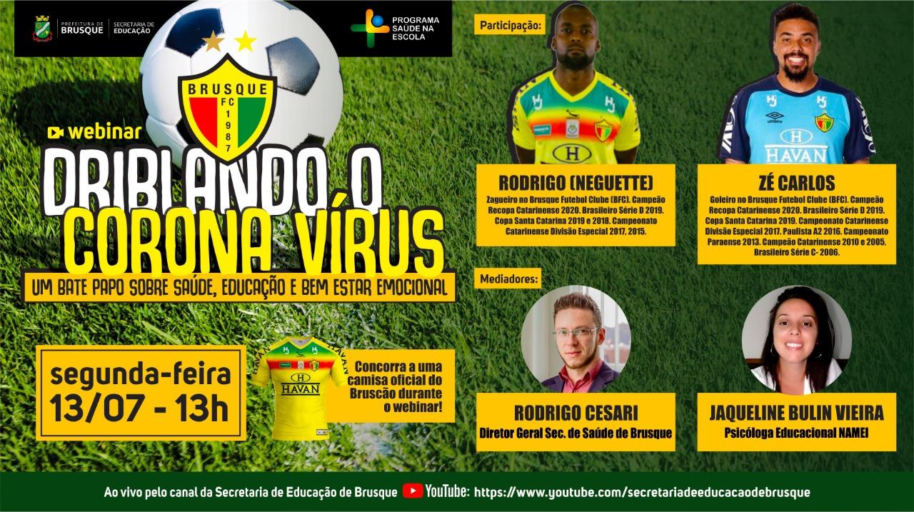 Secretaria da Educação fará webinar com jogadores do Brusque FC