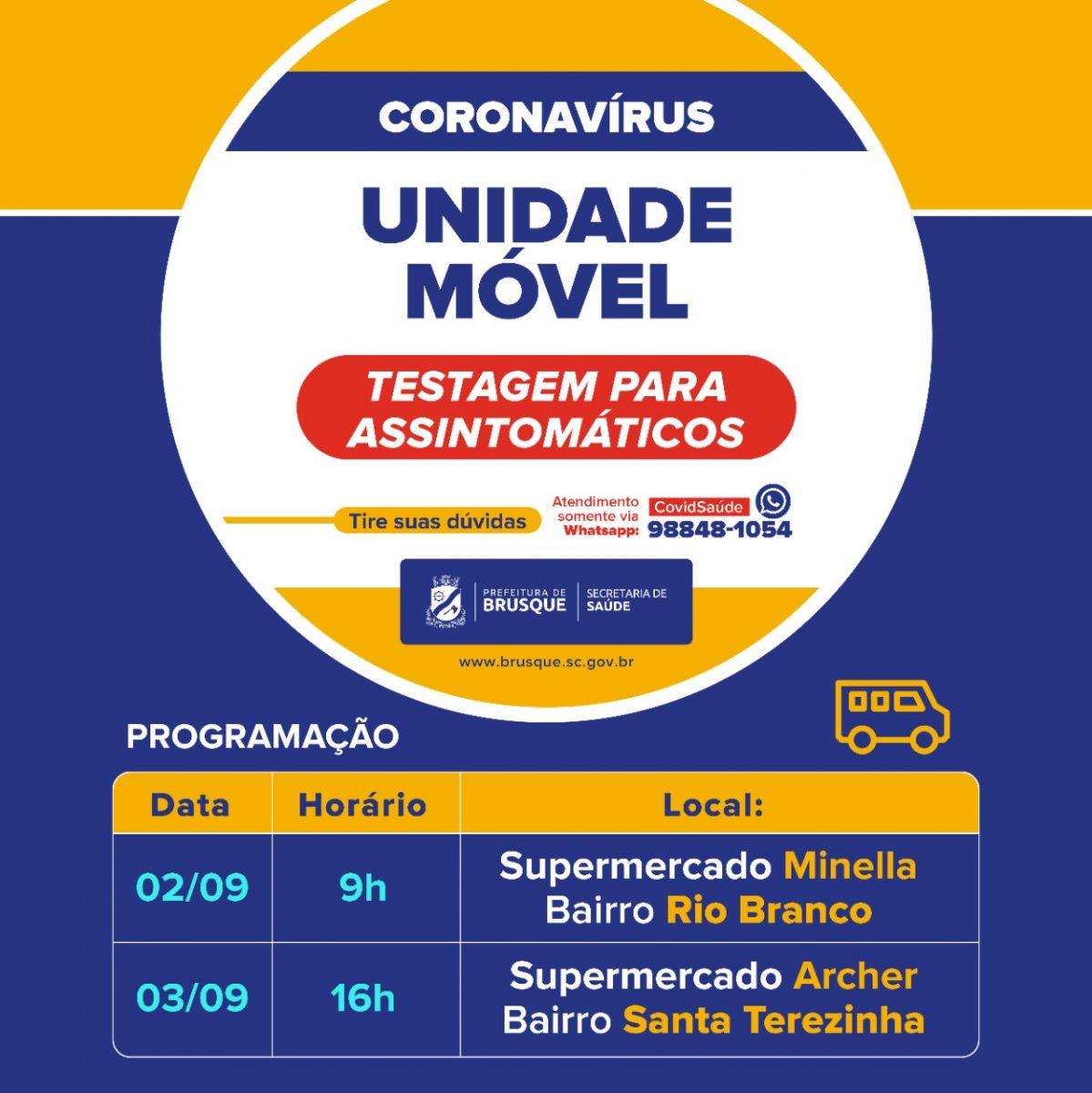 Confira a agenda da Unidade Móvel Covid-19 desta semana