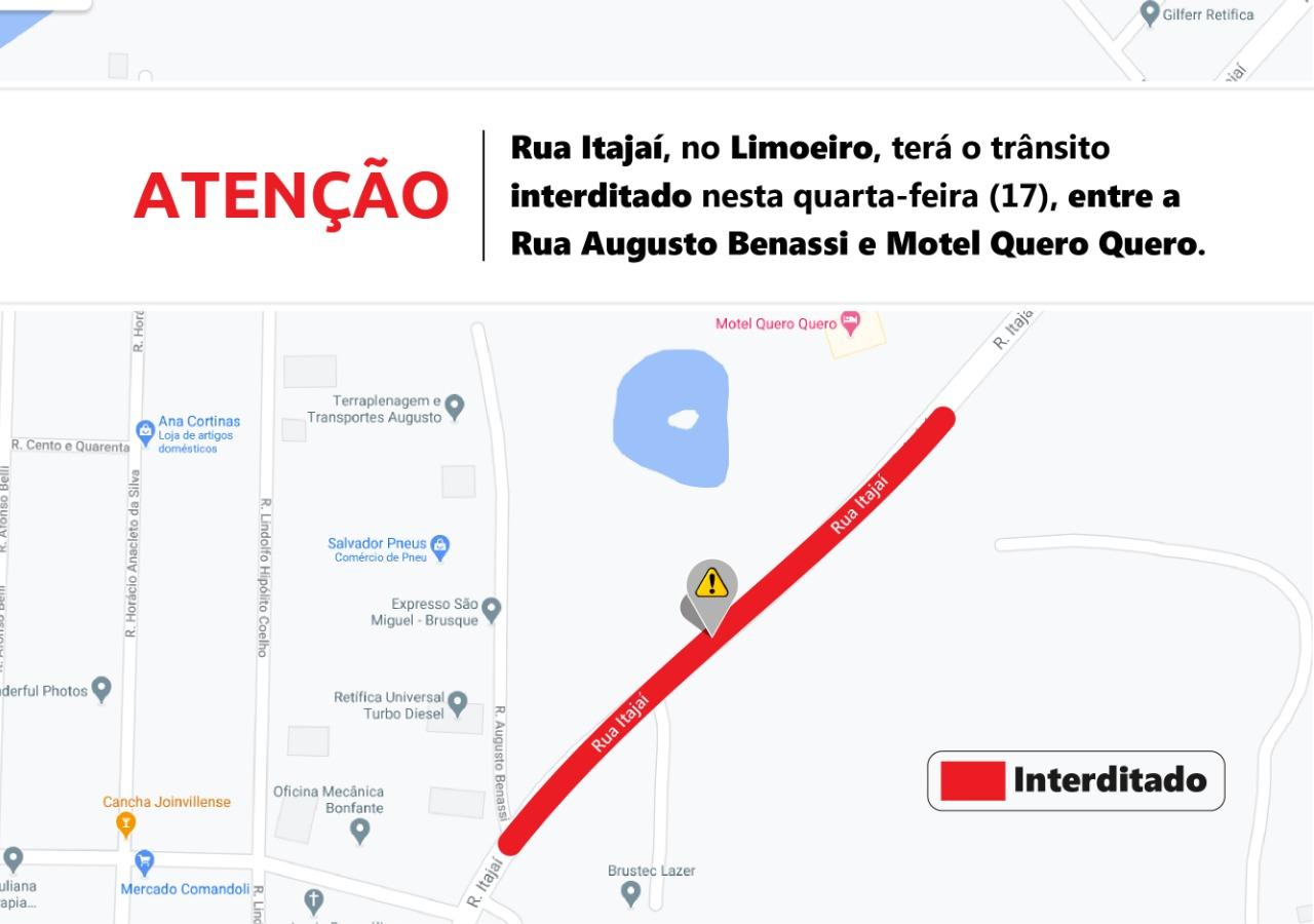 Atenção: Interdição da rua Itajaí para preparação de capa asfáltica