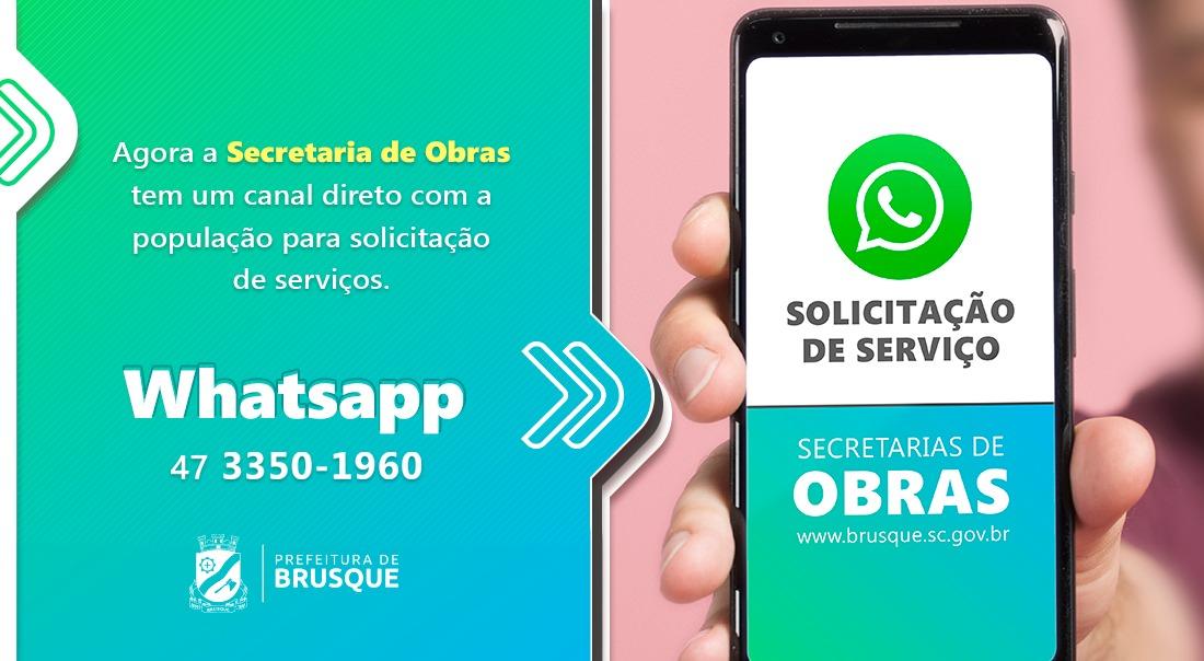 Solicitações para Secretaria de Obras podem ser feitas via Whatsapp