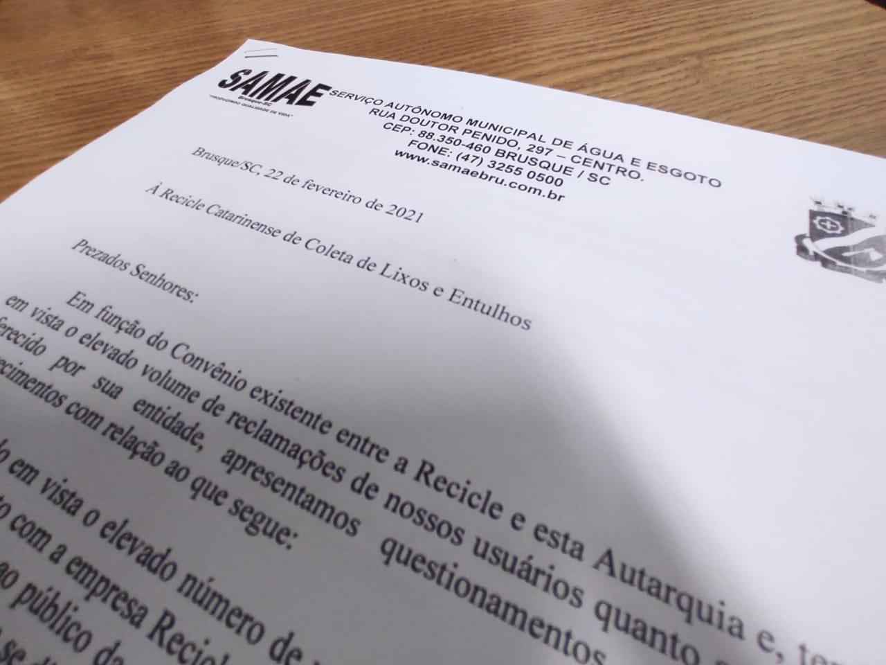 Samae notifica Recicle Catarinense de Resíduos