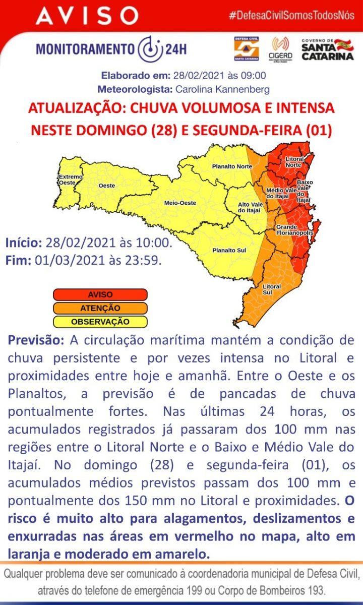 Boletim Defesa Civil de Brusque – Chuvas entre 27 e 28 de fevereiro  Atualização 28 de fevereiro, 12h