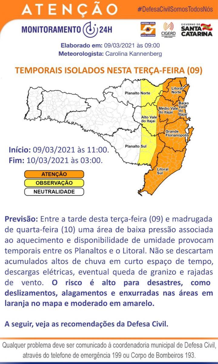 Defesa Civil divulga aviso meteorológico com possibilidade de temporais isolados