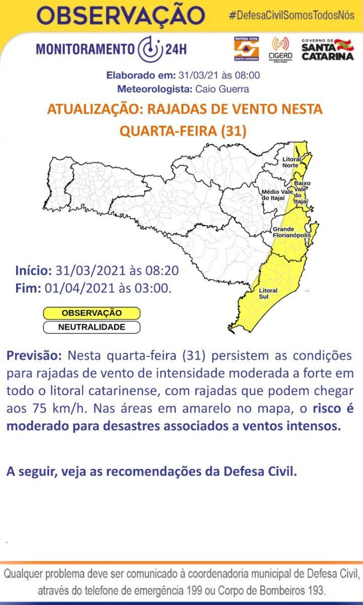 Defesa Civil emite aviso meteorológico para possíveis rajadas de vento