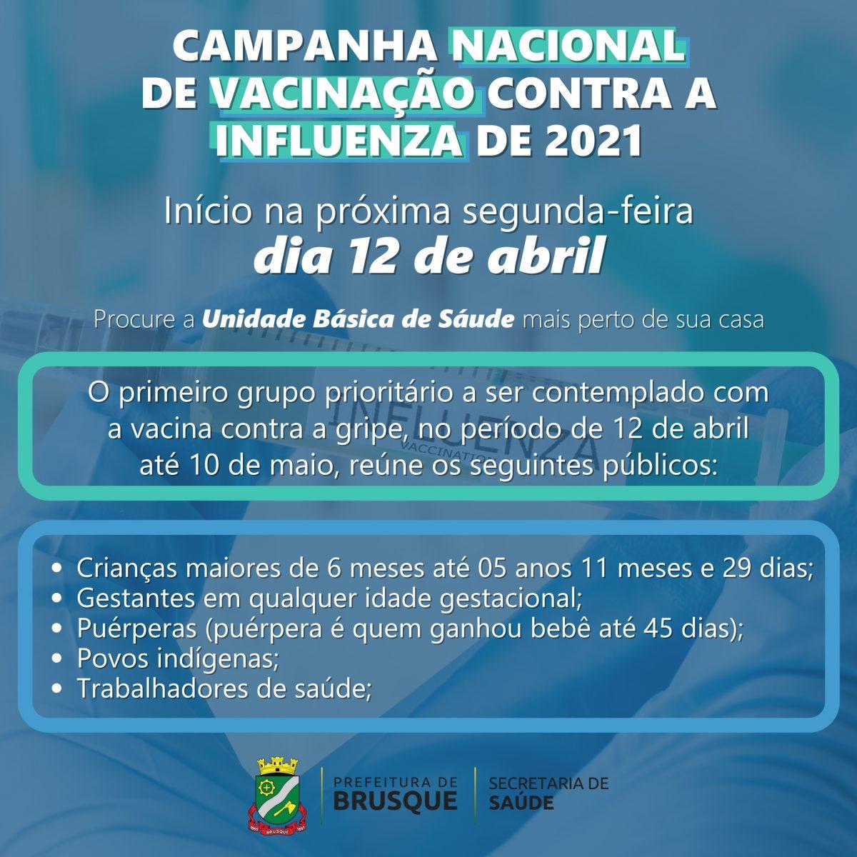 Campanha de Vacinação contra a Gripe inicia na segunda-feira (12)