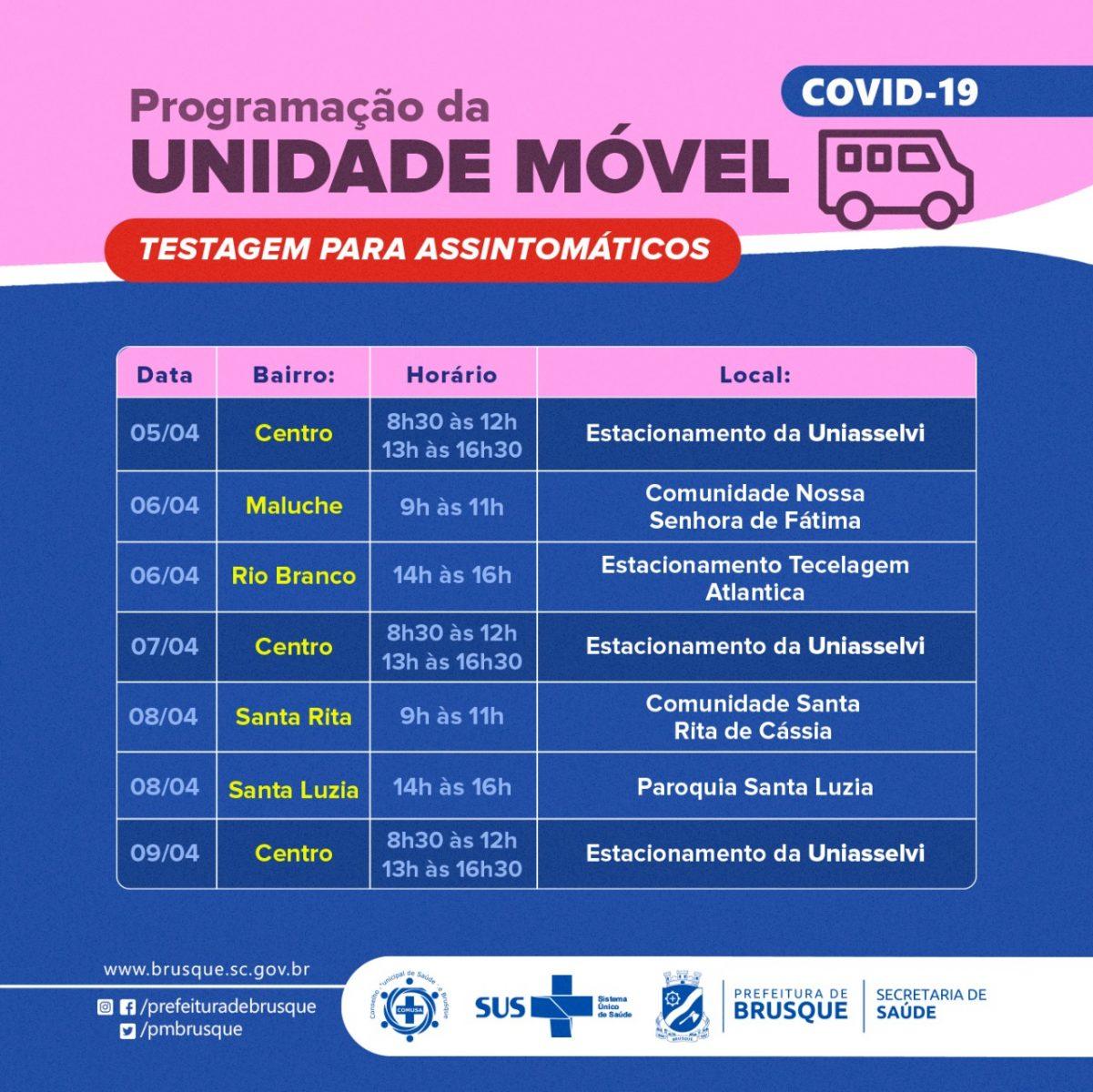 Covid-19: Confira a programação da unidade móvel para a próxima semana