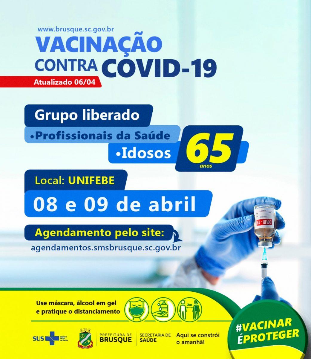Brusque abre novo agendamento para primeira dose da vacina da Covid para idosos acima de 65 anos e profissionais de saúde