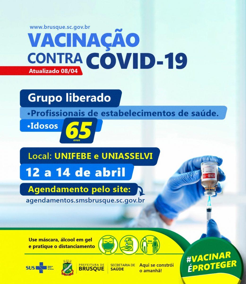 Brusque abre novo agendamento para primeira dose da vacina da Covid para pessoas acima de 65 anos e profissionais de saúde