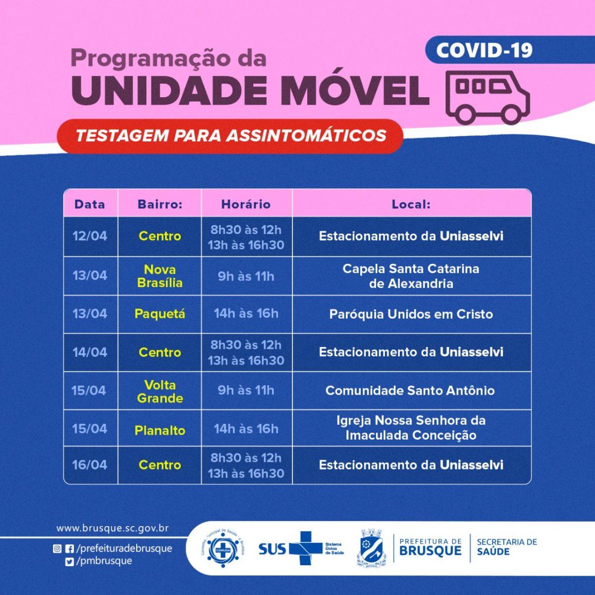 Covid-19: Unidade móvel para assintomáticos divulga agenda da próxima semana