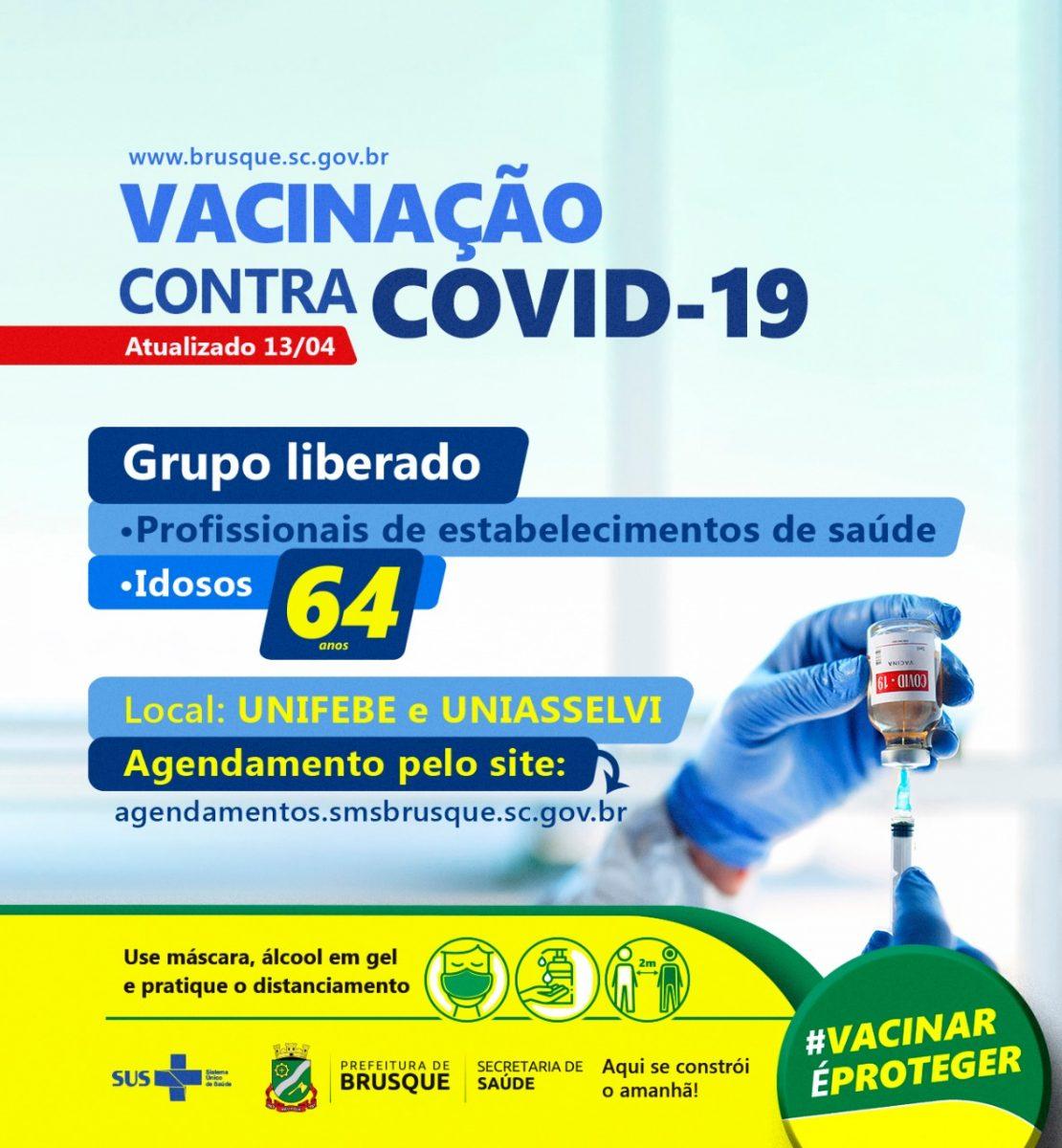 Brusque abre agendamento para primeira dose da vacina da Covid para pessoas acima de 64 anos