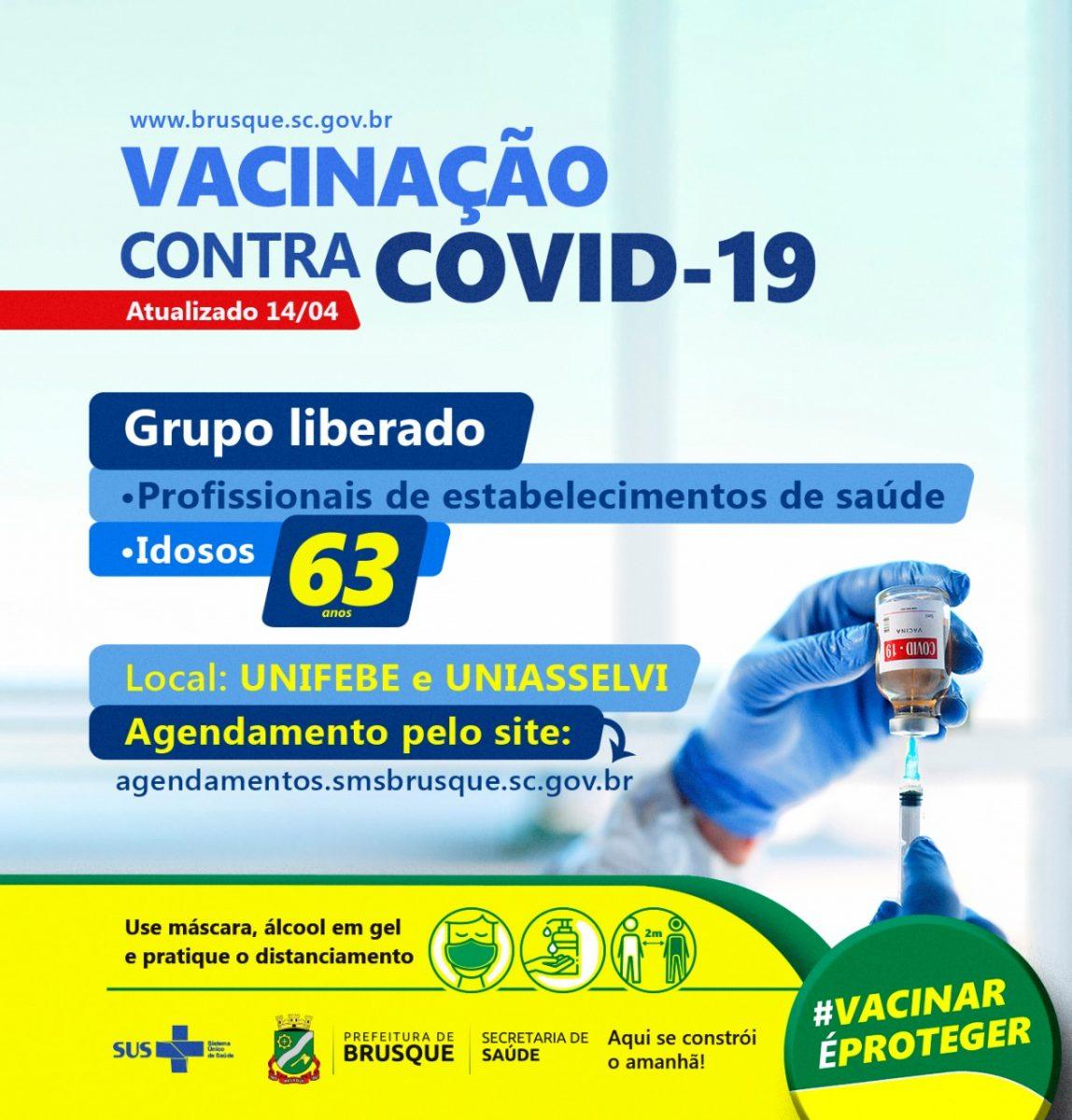 Brusque abre agendamento para primeira dose da vacina da Covid para pessoas acima de 63 anos