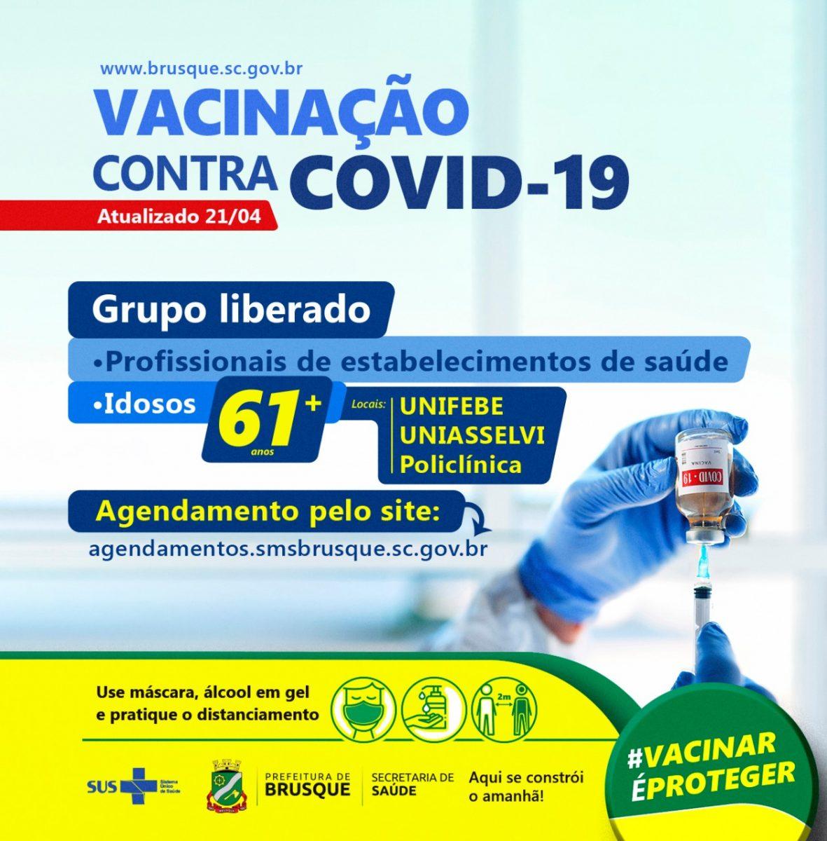 COVID-19: Brusque abre agenda para primeira dose da vacina a pessoas acima de 61 anos