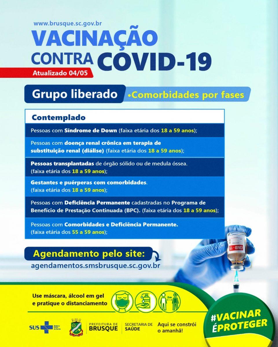 COVID-19: Brusque segue com a vacinação para pessoas com comorbidade de 55 a 59 anos
