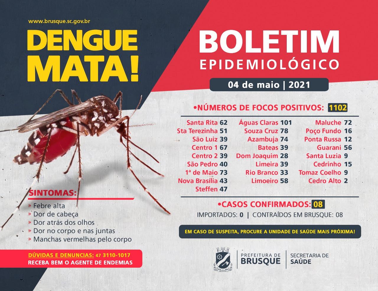 Brusque contabiliza 1.102 focos de Dengue em 2021