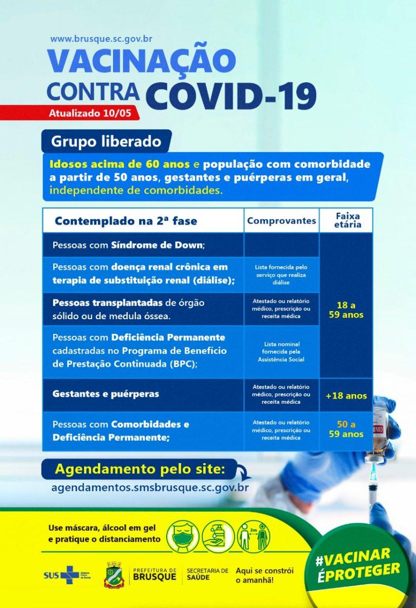 COVID-19: Brusque abre agendamento para vacina a pessoas com comorbidade a partir de 50 anos
