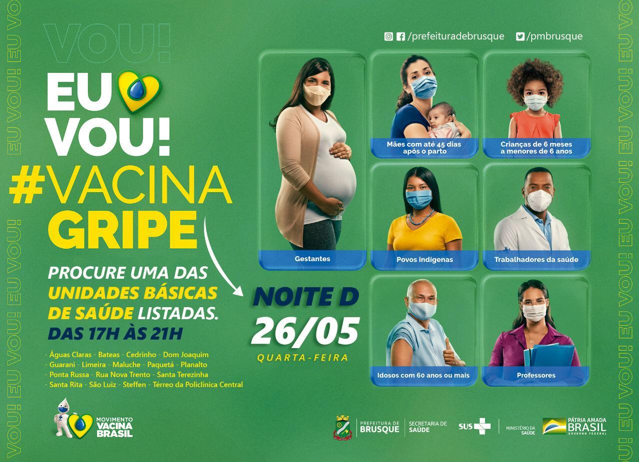 """Brusque organiza """"Noite D"""" de Vacina contra a Gripe"""