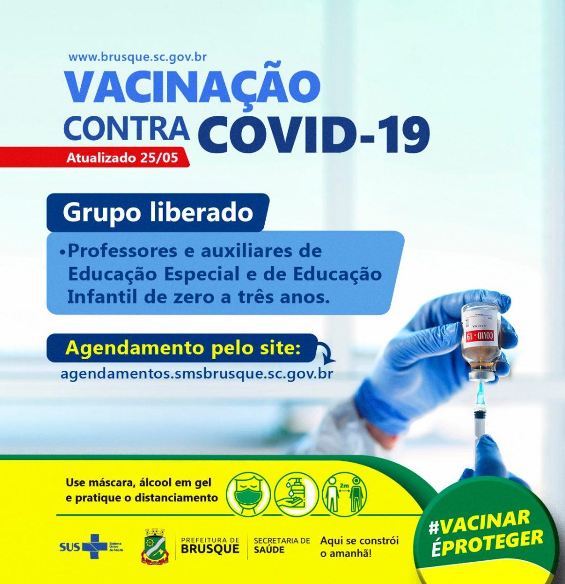 Covid-19: Aberto agendamento para vacinação de profissionais de educação