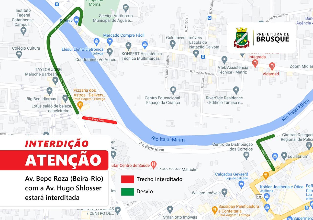 Acesso da avenida Bepe Roza com a avenida Hugo Schlosser estará interditado esta noite