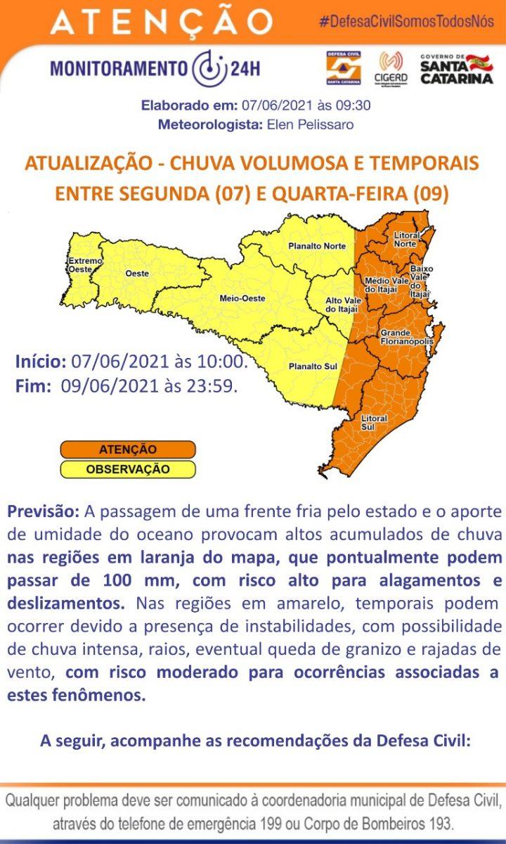 Defesa Civil alerta para possibilidade de grande volume de chuva