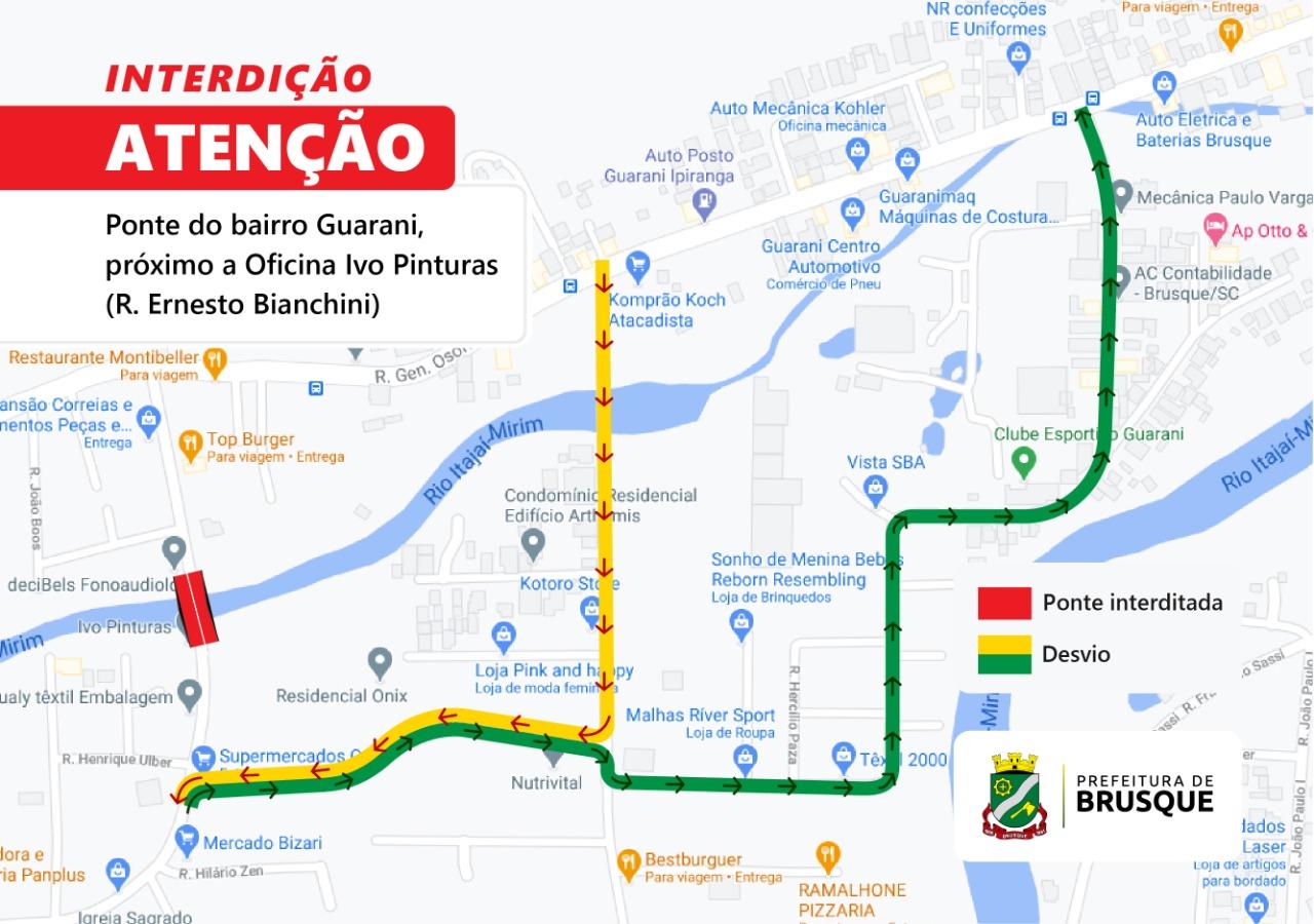 Estrutura da ponte na rua Ernesto Bianchini cede no bairro Guarani