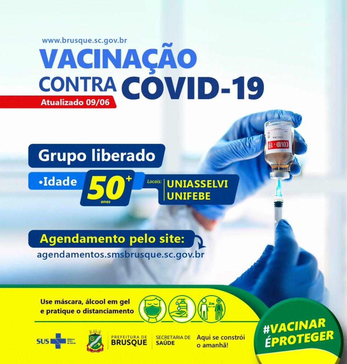 Covid-19: Brusque abre agendamento para vacina a população acima de 50 anos