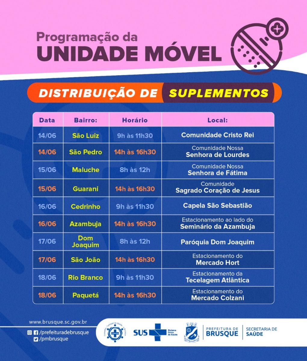 Covid-19: Unidade móvel de distribuição de suplementos informa agenda da próxima semana