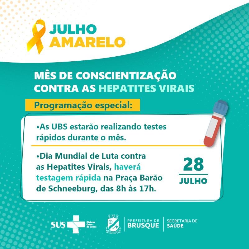 Brusque oferta teste rápido de hepatites em toda a Rede Básica para marcar o Julho Amarelo