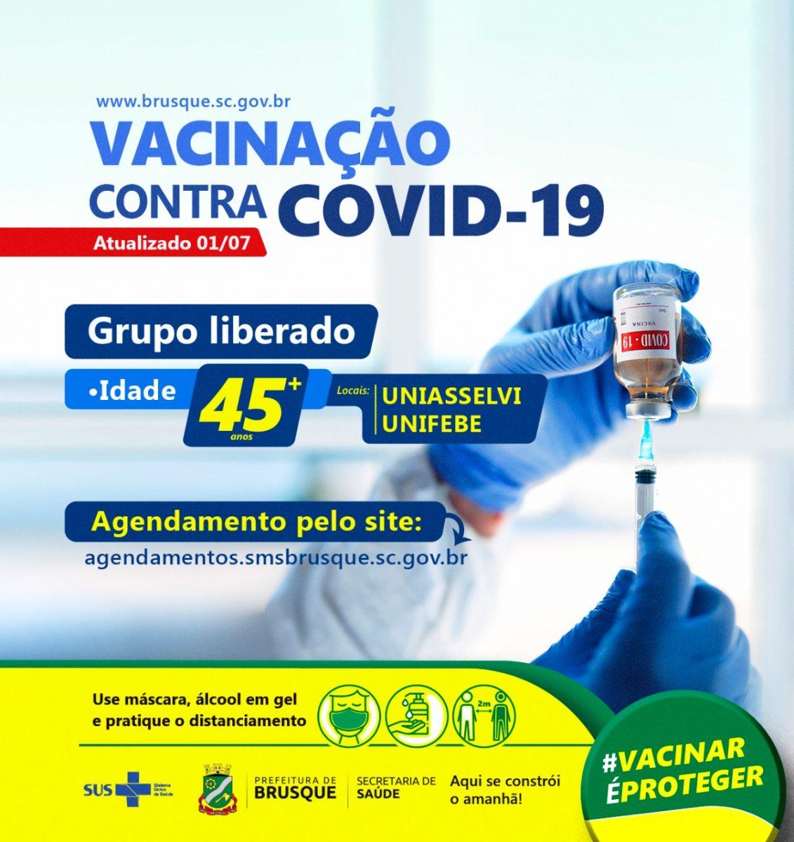 Covid-19: Brusque abre agendamento para vacina a pessoas com 45 anos ou mais