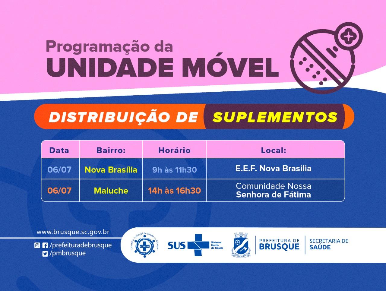 Covid-19: Unidade Móvel distribui suplementos na Nova Brasília e no Maluche nesta terça-feira