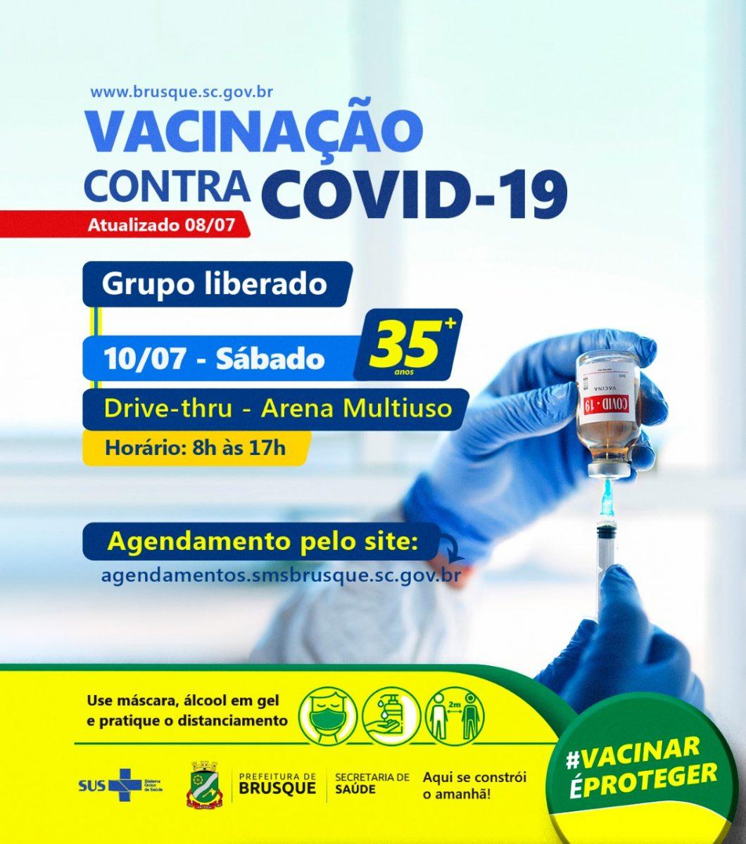 Covid-19: Brusque abre agendamento para vacina a pessoas com 35 anos ou mais