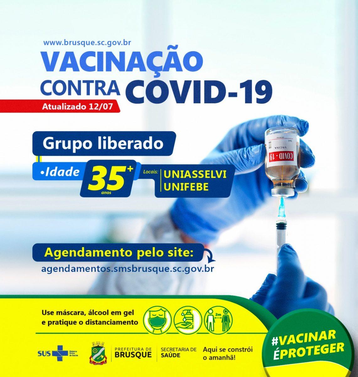Covid-19: Brusque abre novo agendamento para vacina a pessoas com 35 anos ou mais