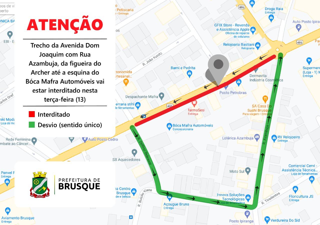 Trecho da Avenida Dom Joaquim vai estar interditado nesta terça-feira (13)