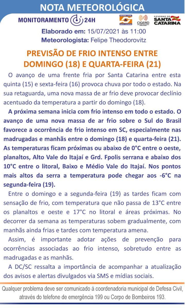 Defesa Civil emite alerta para frio intenso a partir de domingo (18)