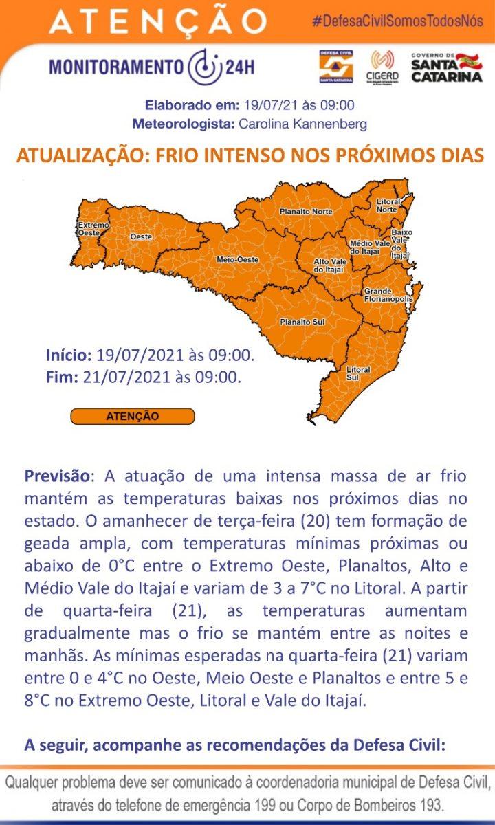 Frio intenso deve permanecer até quarta-feira (21)