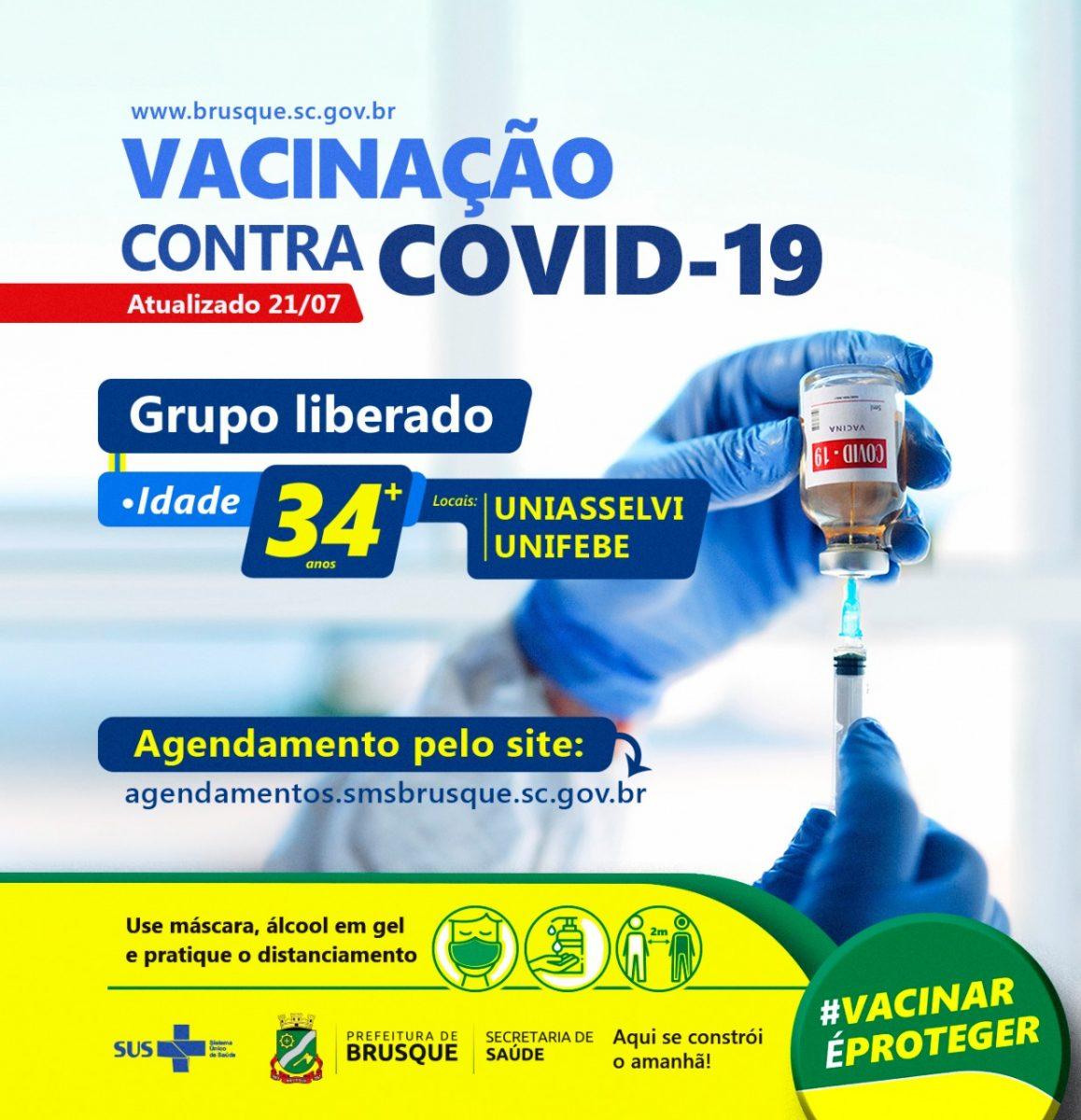 Covid-19: Brusque abre agendamento para vacina a pessoas com 34 anos ou mais