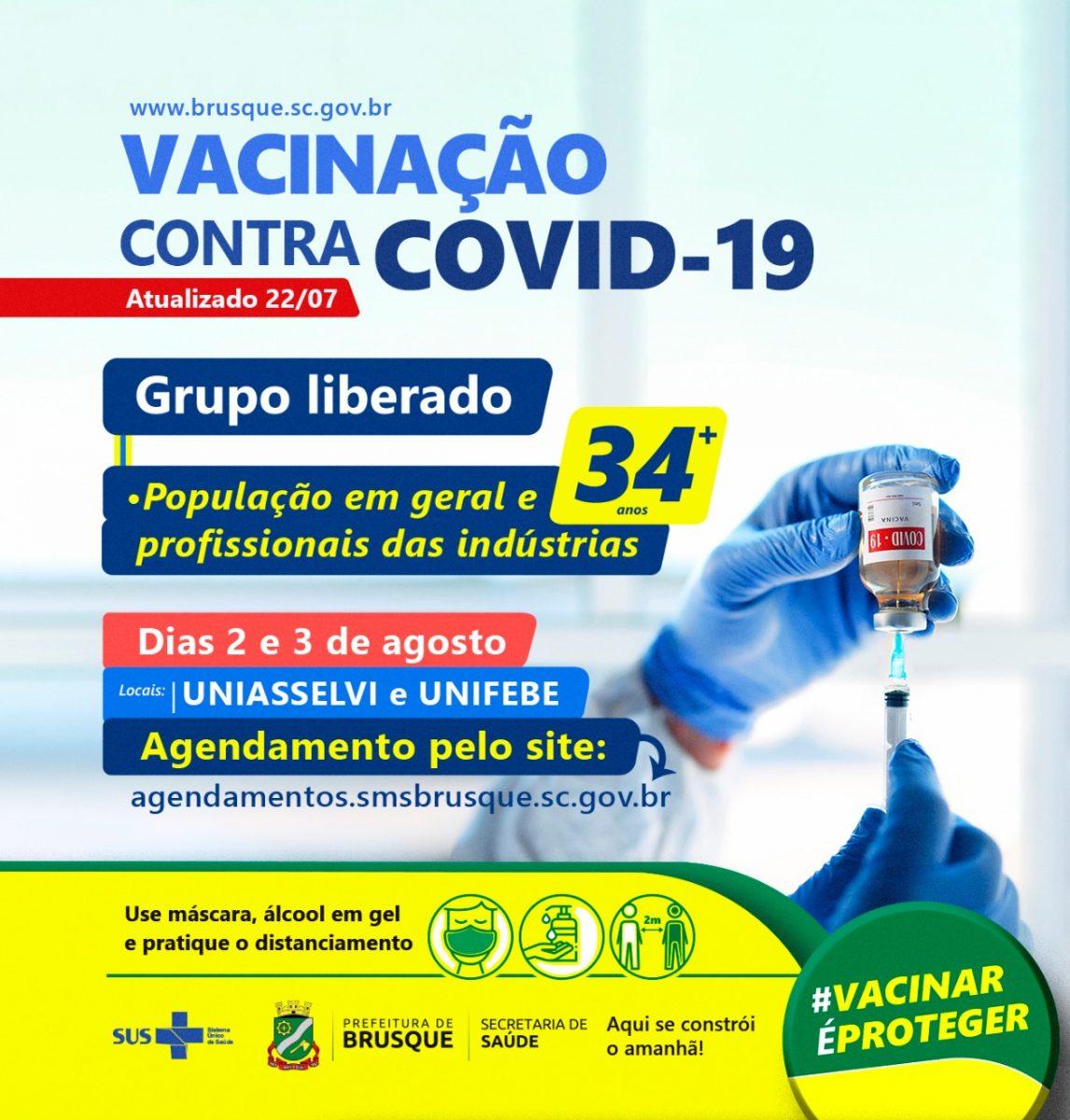 Covid-19: Brusque abre novo agendamento para vacina a pessoas com 34 anos ou mais