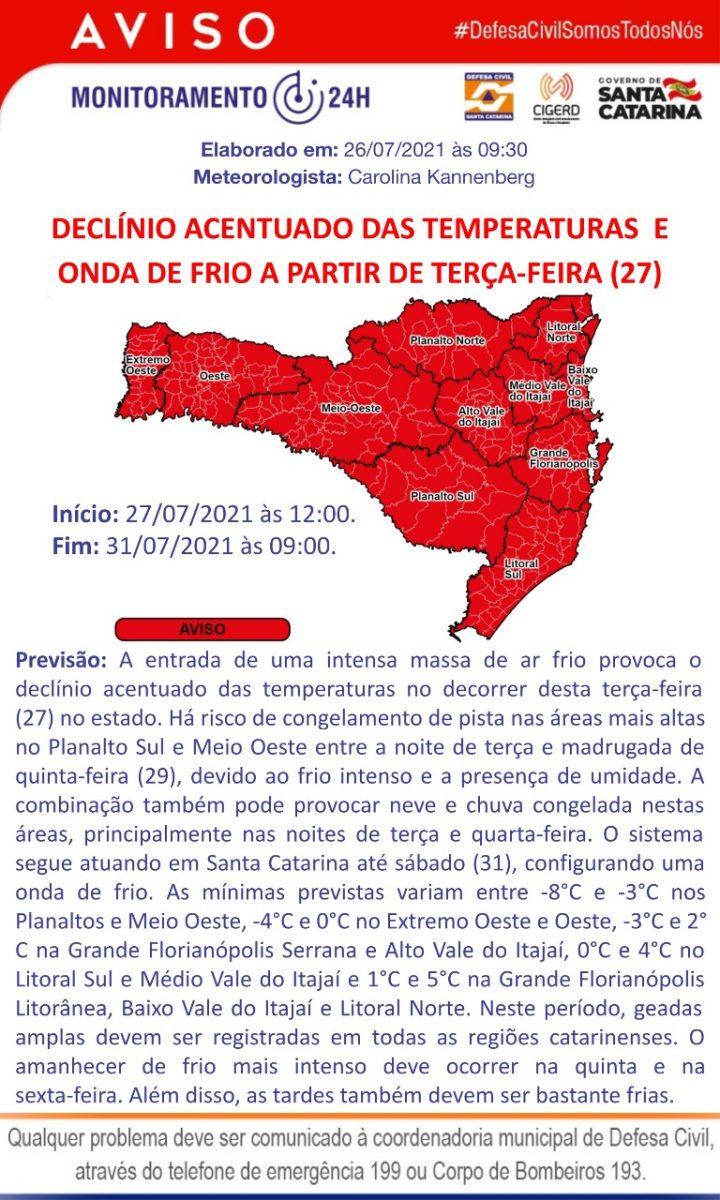 Defesa Civil alerta para frio intenso