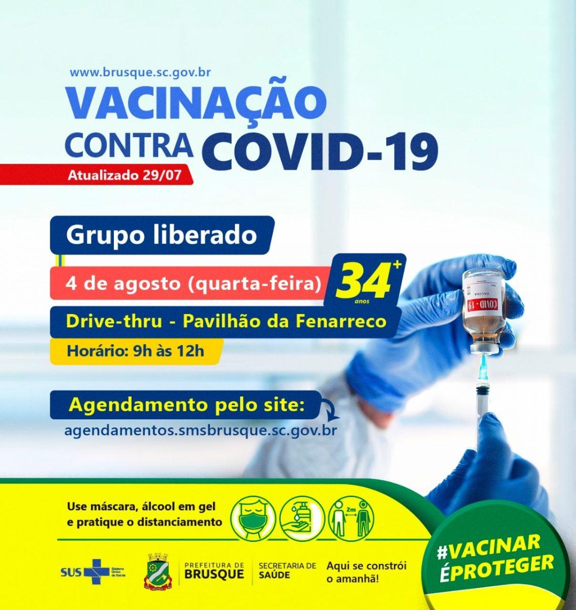 Covid-19: Ação simbólica de vacina marca o aniversário de 161 anos de Brusque