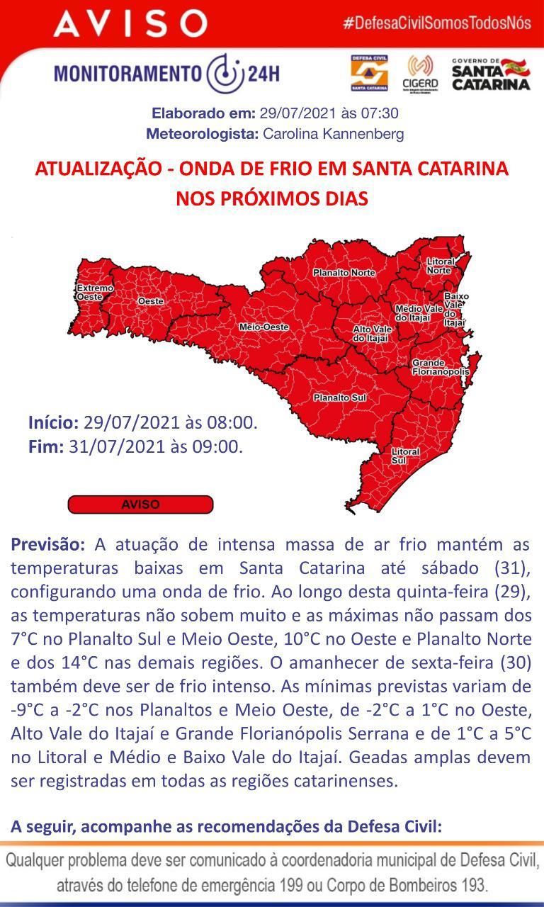 Defesa Civil alerta para frio intenso nos próximos dias