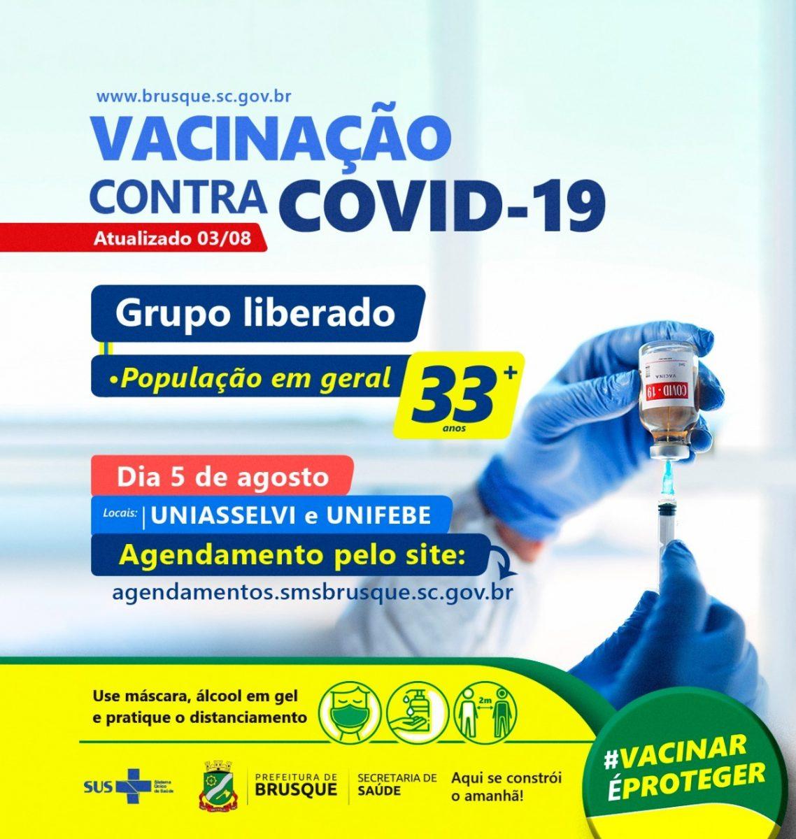 Covid-19: Brusque abre agendamento para vacina a pessoas com 33 anos ou mais