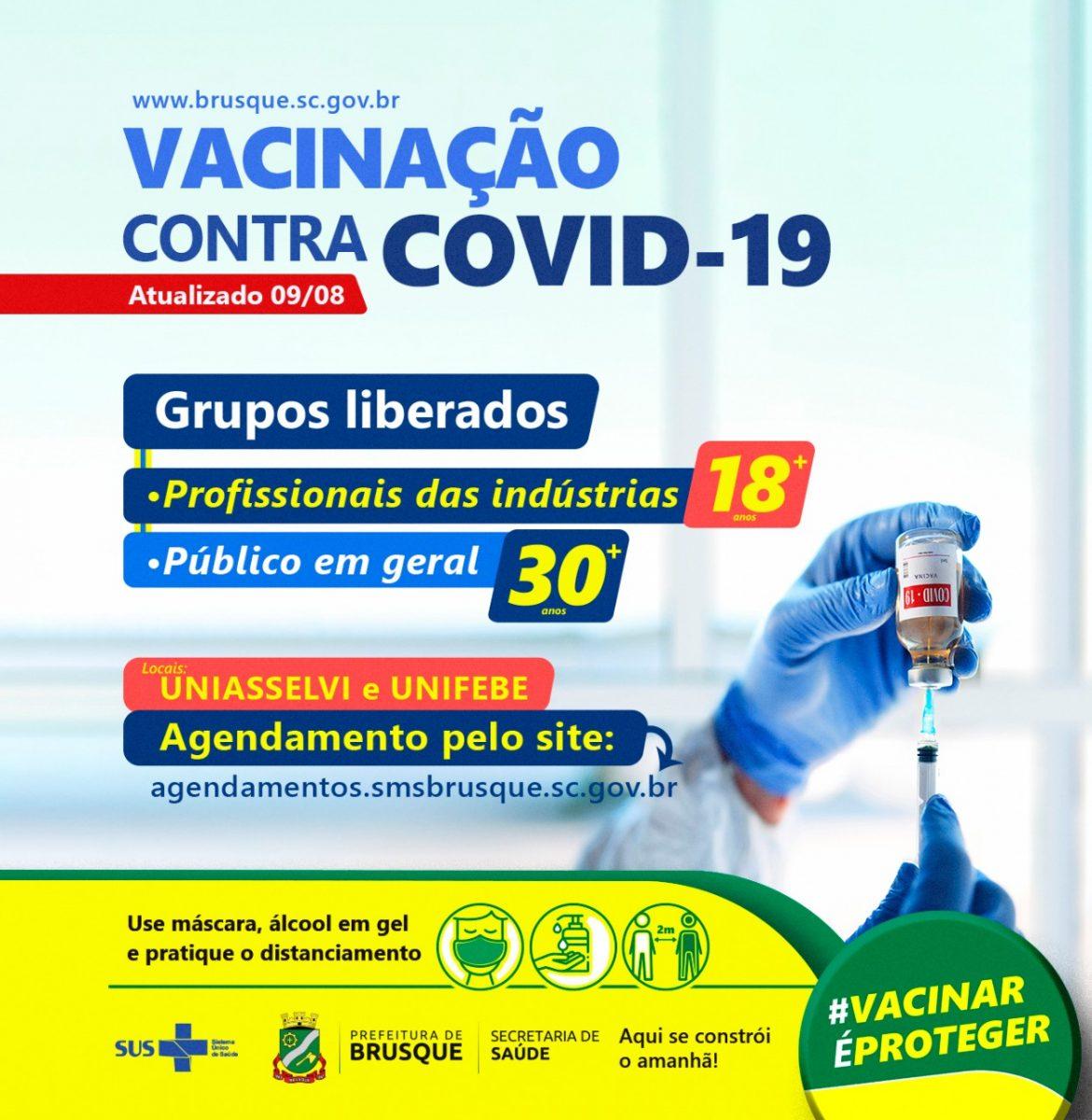 Vacinação contra Covid-19: agendamento aberto para pessoas com 30 anos ou mais e trabalhadores da indústria